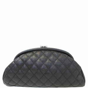 CHANEL Timeless Caviar Quilted Leather Clutch